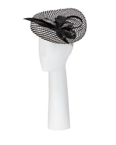 Woven Disc Hat w/ Flower & Buntal Trim