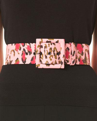 Leopard-Print Square Buckle Belt