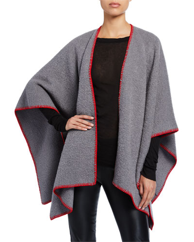 Wool Contrast-Stitched Cape