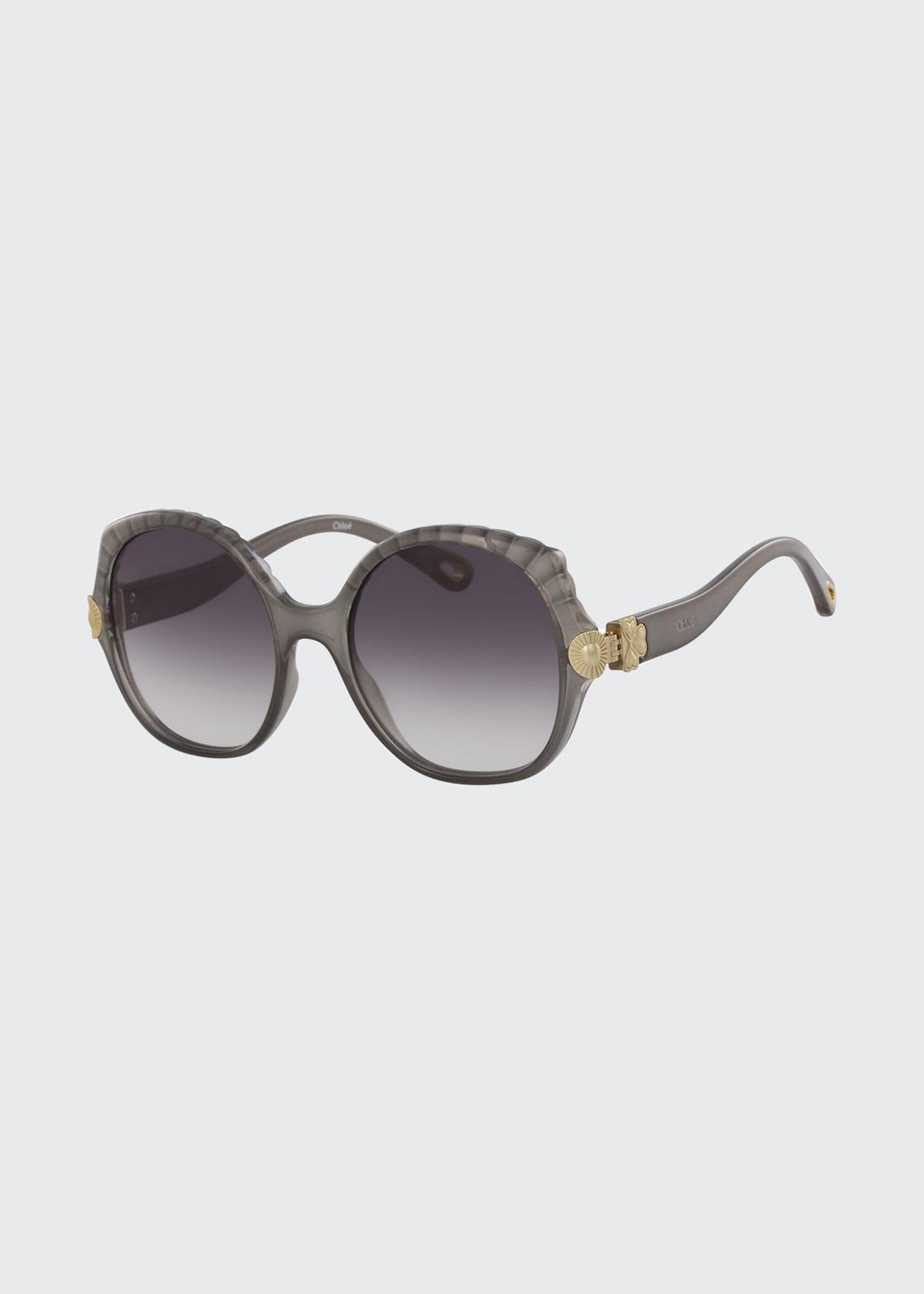 Chloé Sunglasses SCALLOPED ROUND PLASTIC SUNGLASSES