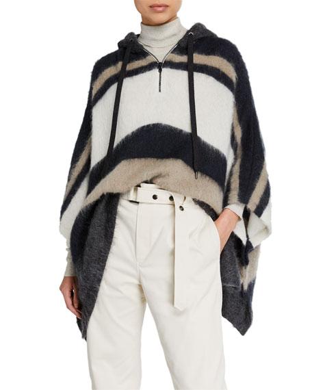 Mohair Alpaca Striped Half-Zip Poncho