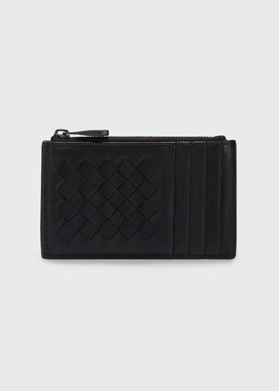 Intrecciato Leather Zip Card Case