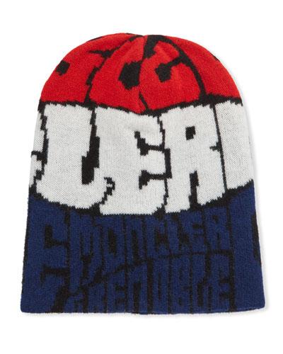 Tricolor Knit Beanie Hat