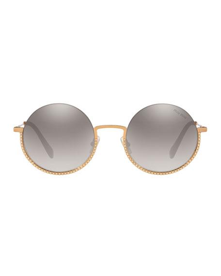 Semi-Rimless Crystal Studded Round Sunglasses