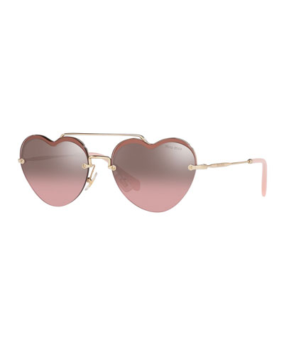 Heart-Shaped Mirrored Sunglasses