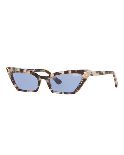 Crystal-Trim Acetate Cat-Eye Sunglasses