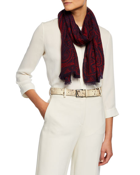 Image 1 of 1: Two-Tone Paisley Cashmere Scarf