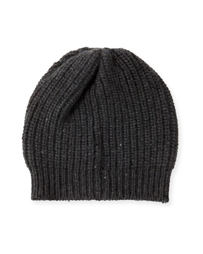 Cashmere-Ribbed Sequin Beanie