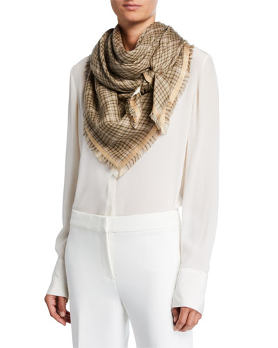 Hollins Check Fringe Scarf
