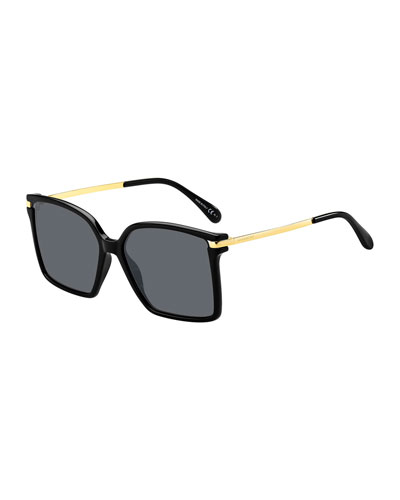 Square Propionate & Metal Sunglasses