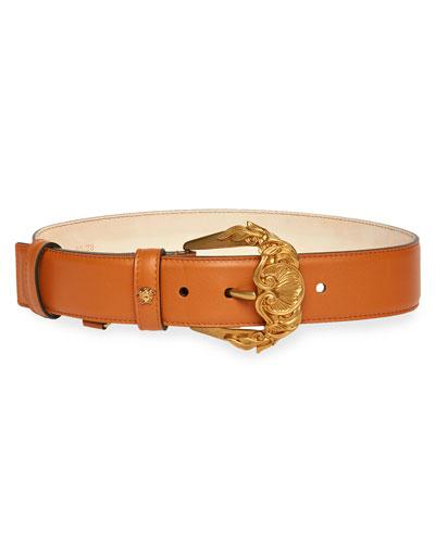 Barocco Buckle Leather Belt