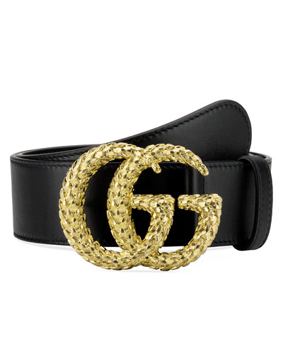 Leather Belt w/ Textured Double G Buckle