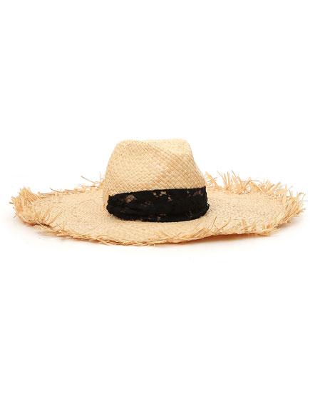 Raffia Frayed Large Brim Hat w/ Lace Trim
