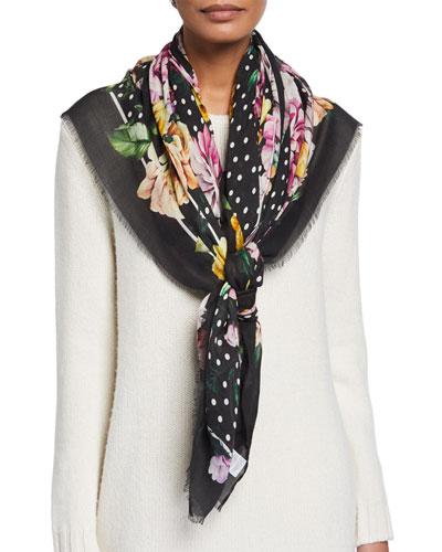 Floral Bouquet Modal-Cashmere Scarf