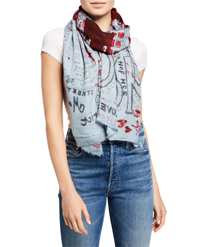 USA Patterned Modal-Cashmere Scarf