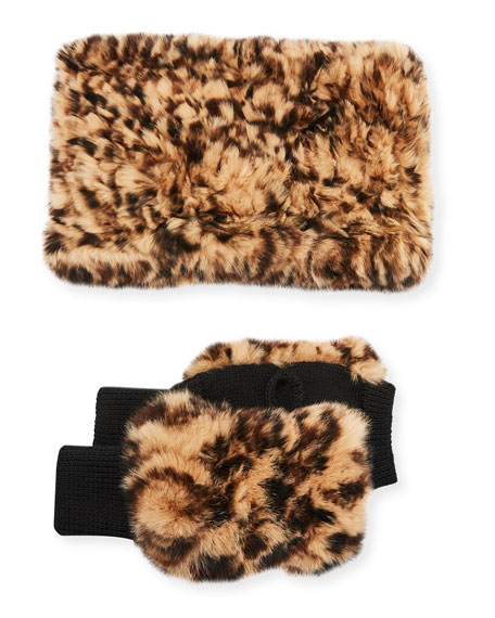 Image 1 of 1: Texty Time Fur Gloves & Snood Scarf Set