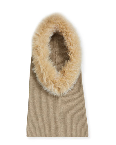 Paulina Knit Cashmere Hood w/ Fox Fur Trim