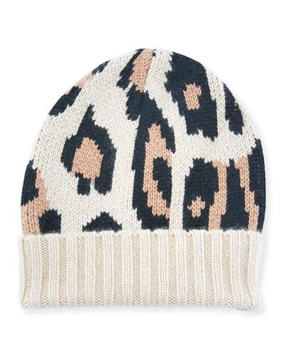 Alexis Animal Pattern Cashmere Beanie Hat