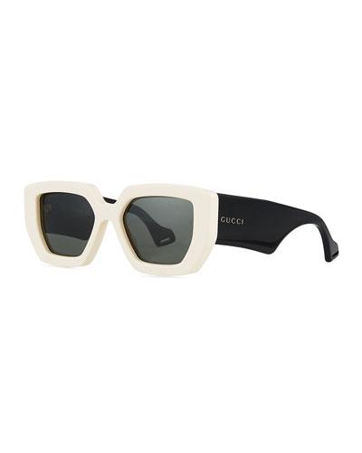 Two-Tone Acetate Oversized Cat-Eye Sunglasses