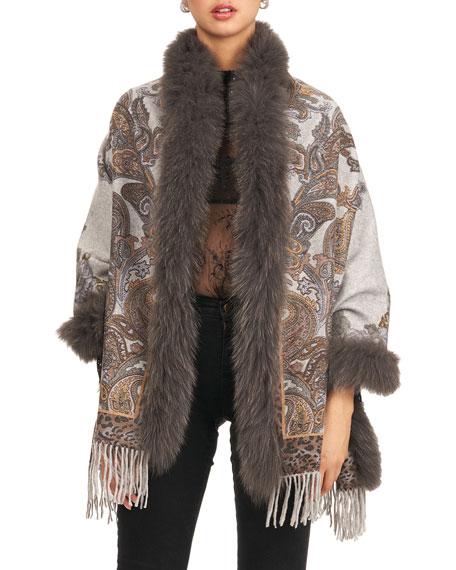Reverse Double Faced Cashmere Stole w/ Fox Fur Trim