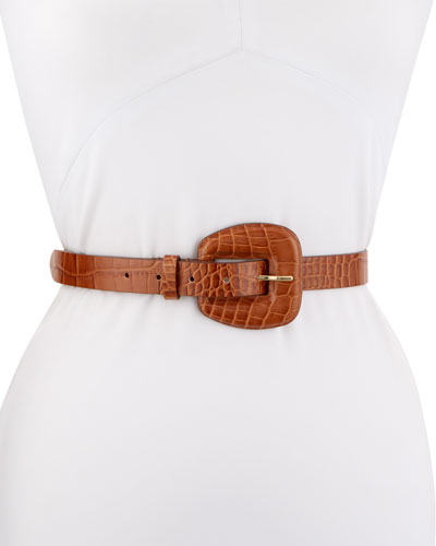 Elsy Croc-Embossed Leather Belt