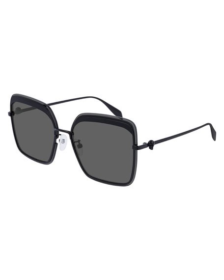Square Metal Sunglasses w/ Skull Temples