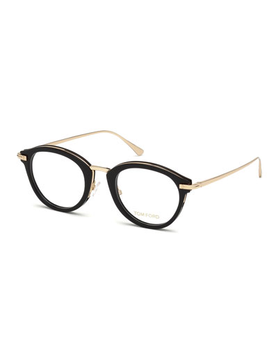 Oval Acetate & Metal Optical Frames  Black Metallic