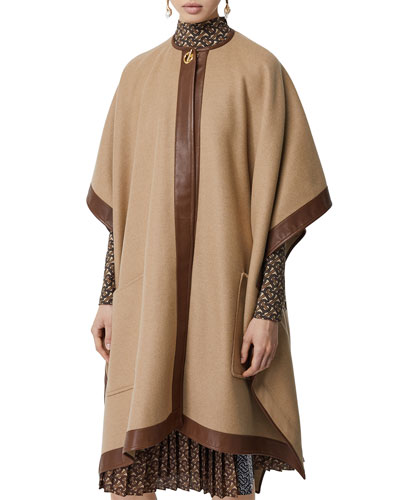 Cashmere Leather-Trim Cape