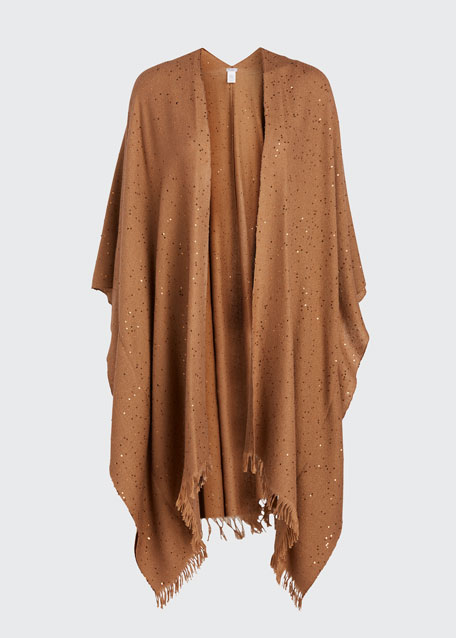 Cashmere-Silk Sequined Poncho