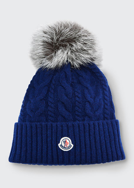 Image 1 of 1: Cable-Knit Beanie Hat w/ Fur Pompom