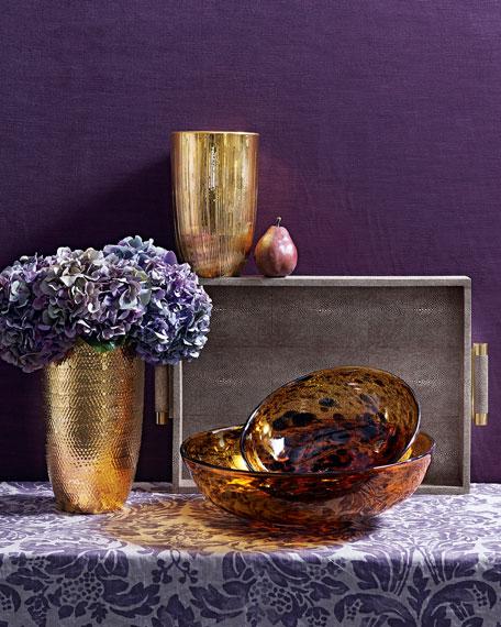 Chocolate Faux-Shagreen Rectangular Tray
