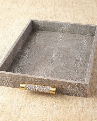 Chocolate Faux-Shagreen Rectangular Tray