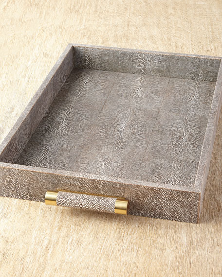 Chocolate Shagreen Rectangular Tray