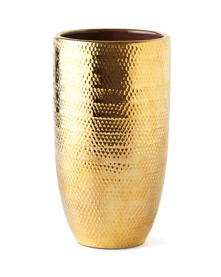 AERIN Net Textured Large Gold Vase