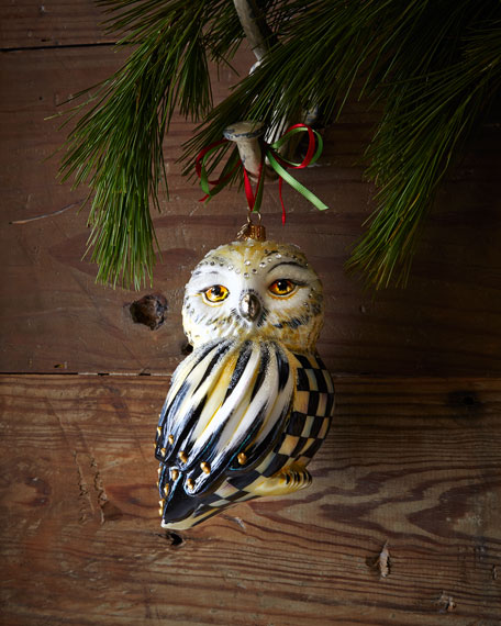 Mackenzie Childs Courtly Check Snowy Owl Christmas Ornament