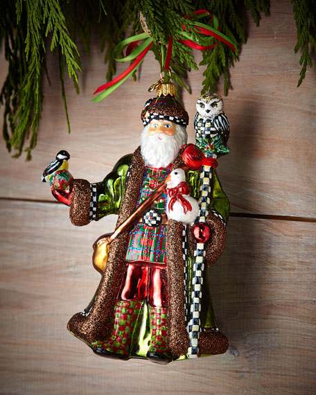 Mackenzie Childs Christmas Ornaments.Bird Watching Santa Christmas Ornament