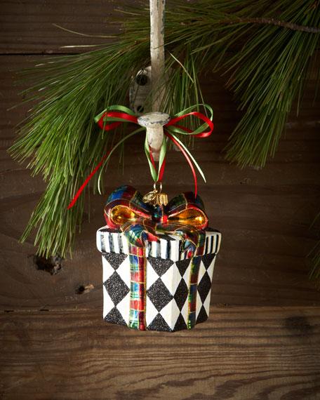 Mackenzie Childs Christmas.Harlequin Present Christmas Ornament