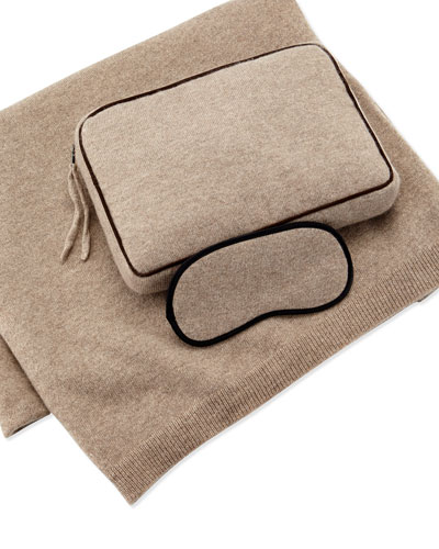 Cashmere Jersey Travel Set, Beige