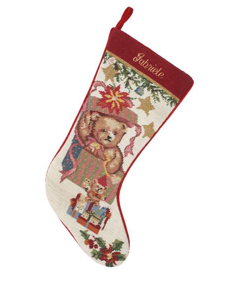 SFERRA Holiday Needlepoint Christmas Stocking, Personalized