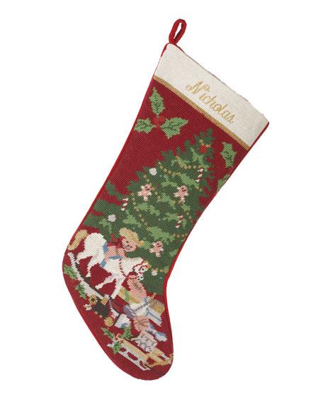 Needlepoint Christmas Stockings.Holiday Needlepoint Christmas Stocking Personalized
