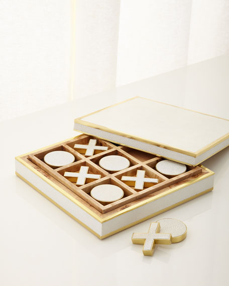 AERIN Cream Faux-Shagreen Tic Tac Toe
