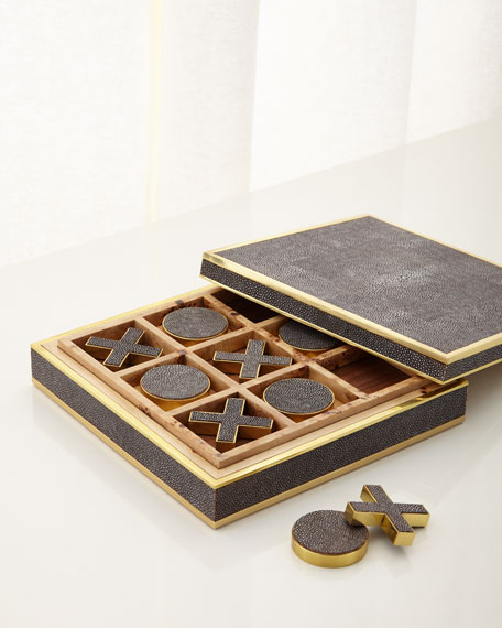 Chocolate Faux-Shagreen Tic Tac Toe