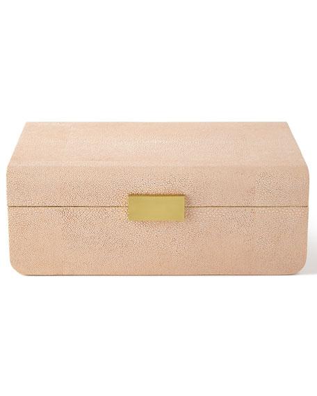 Large Blush Modern Faux-Shagreen Decorative Box
