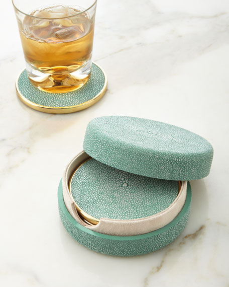 Seafoam Faux-Shagreen Coasters, Set of 4