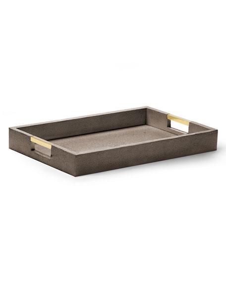 Chocolate Faux-Shagreen Desk Tray