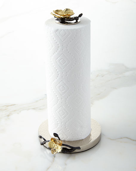 Image 1 of 1: Gold Orchid Paper Towel Holder