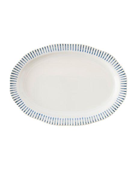 """Sitio Stripe Indigo 17"""" Serving Platter"""