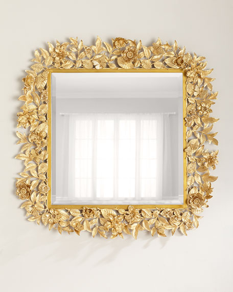 "Composition Floral Leaf Mirror, 42""Sq."