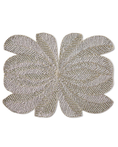 Peacock Hand-Beaded Placemat  Silver