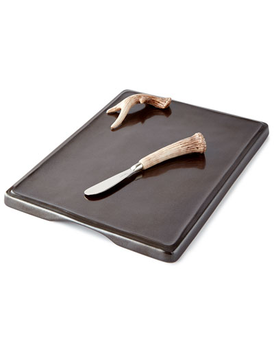 Forest Pewter Serving Board with 2 Spreaders